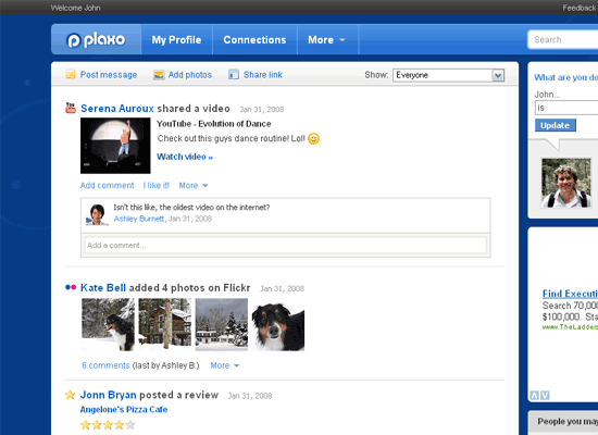 plaxo screenshot