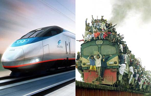 Overcrowded Train vs Bullet Train