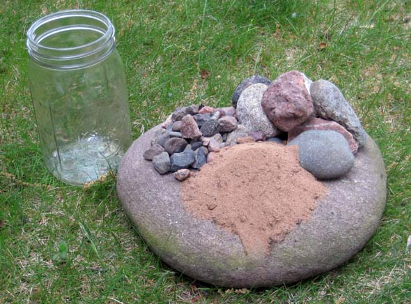 Jar, Rocks, Pebbles & Sand